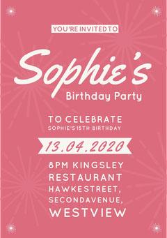 Pink Girl's Birthday Party Invitation Christmas Invitation