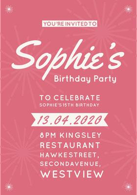 Pink Girl's Birthday Party Invitation Bachelorette Party Invitation