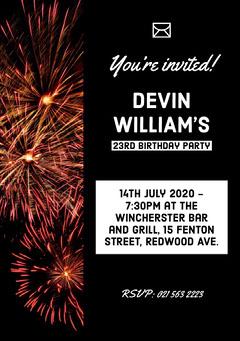 birthday invite for neutral  Fireworks