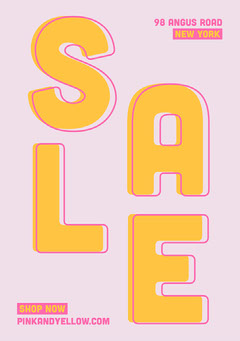 Pink and Yellow, Flashy, Sale Ad, Flyer Shopping