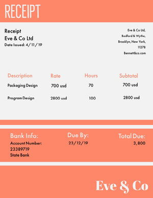 Orange Graphic Design Company Invoice Lasku