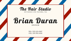 Traditional Striped Barber Business Card Barber