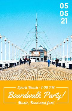 Orange Boardwalk Party Flyer with Pier Food Flyer