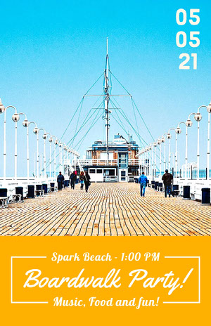 Orange Boardwalk Party Flyer with Pier Partyflyer