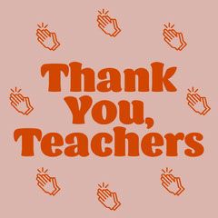 Red and Pink Thank You Teachers Instagram Square with Clapping Hands Illustrations Thank You Poster