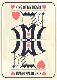 Beige, Red and Navy, Valentines Day Playing Card  Messages d'amour