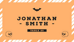 Halloween Pumpkin Bat Party Place Card Halloween Party Place Card
