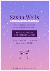 Pink and Violet Bachelorette Party Invitation Party Invitation