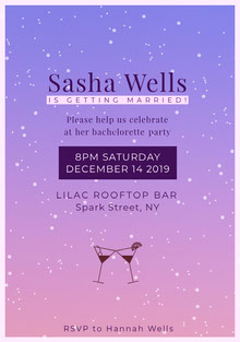 Pink and Violet Bachelorette Party Invitation Invitation