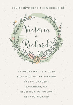 Grey Rustic Wreath Wedding Invite  Rustic Wedding Invitation
