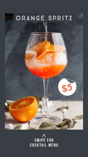Grey Orange Spritz Instagram Story  Drink Menu