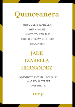 Gold Quinceanera Birthday Invitation Card Invitation de fête des 15 ans
