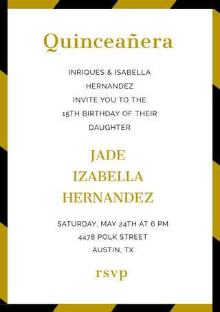 Gold Quinceanera Birthday Invitation Card Quinceañera-invitasjon