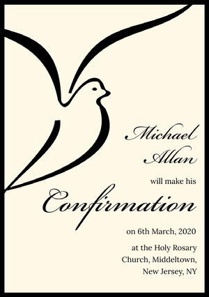 Black and White Confirmation Announcement Card Confirmation Annoucement