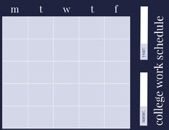Blue Weekly College Work Schedule College