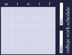 Blue Weekly College Work Schedule Education