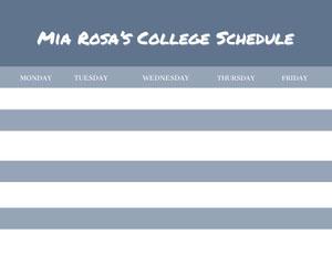 White and Navy Blue Empty Schedule College Schedule