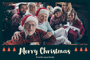 Merry Christmas Card with Happy Family Selfie Christmas Card