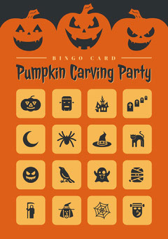 Orange and Black Halloween Pumpkin Carving Party Bingo Card Halloween Party Bingo Card
