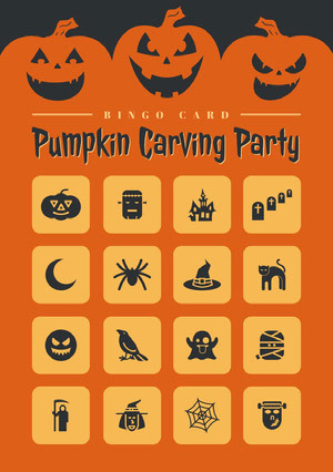 Orange and Black Halloween Pumpkin Carving Party Bingo Card ビンゴカード