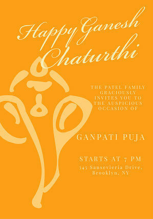 Orange Traditional Ganpati Invitation Griha Pravesh Invitation