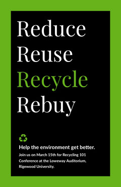Reduce<BR>Reuse<BR>Recycle<BR>Rebuy Campaign