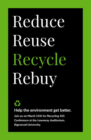 Reduce<BR>Reuse<BR>Recycle<BR>Rebuy Affiche de campagne