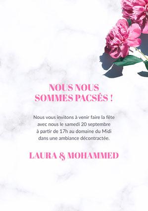 Pink Flowers Pac Invitation A5 Invitation de fiançailles