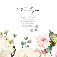 Watercolor Flowers and Calligraphy Wedding Thank You Instagram Square Thank You Messages