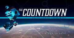 Blue and White Futuristic Outer Space Photo Online Gaming Tournament Facebook Ad Countdown
