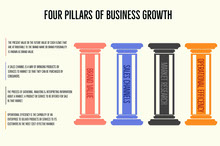 Multicolored Business Growth Pillars Infographic Infografica