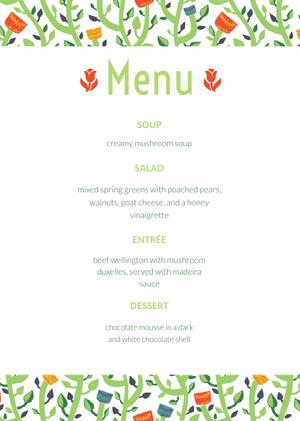 Green Floral Restaurant Menu with Plants Menu