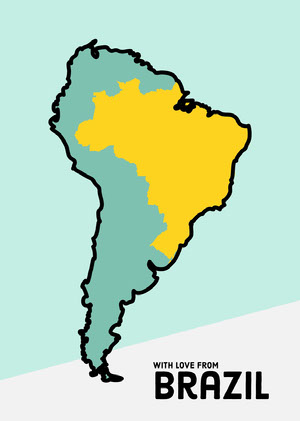 Light Blue Brazil South America Map Postcard Rejsepostkort