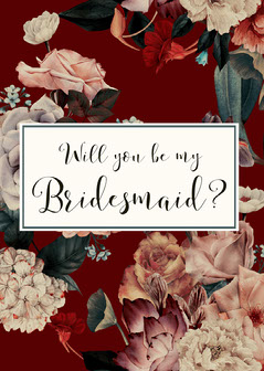 red floral bridesmaid invitation Will You Be My Bridesmaid Card