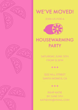 Bright Pink and Yellow Housewarming Party Invitation Card with Lemon Housewarming Invitation