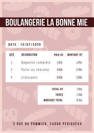 Brown BakerPink Bakery Invoice A4 Facture