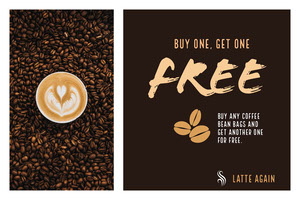 Black With Fresh Coffee Cafe Flyer Coupon