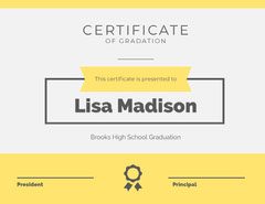 Yellow High School Graduation Certificate Back to School