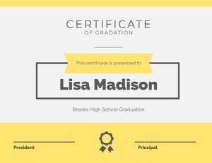Yellow High School Graduation Certificate Certificato di diploma