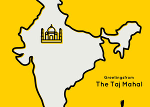 Yellow Map Taj Mahal India Travel Postcard Rejsepostkort