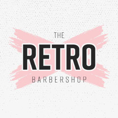 Pink and Grey The Retro Barber Logo Square  Barber