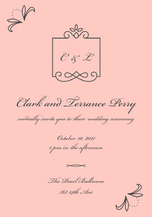 Black and Pink Wedding Invitation 결혼 청첩장