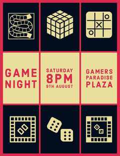 Black Red and White Game Night Social Post Game Night Flyer