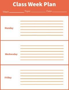 Orange Weekly School Lesson Plan Education