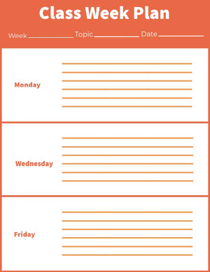 Orange Weekly School Lesson Plan Horario de clase