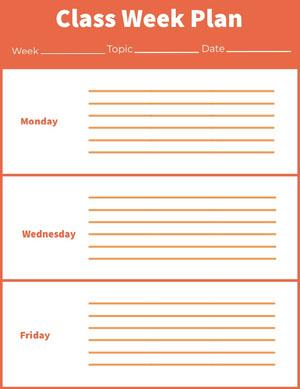 Class Week Plan