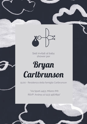 stork carrying baby and clouds baby shower invitations Invito per baby shower