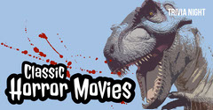 Blue, Red and White Horror Trivia Night Facebook Banner Movie Night Flyer