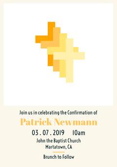 White, Yellow, Light Toned Confirmation Invitation Church
