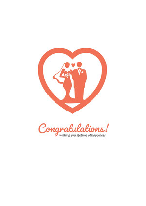 Red Illustrated Wedding Congratulations Card Wedding Congratulations